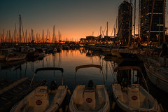 The golden hour..... (Dafydd Penguin) Tags: golden hour sun sunset orange evening light port dock harbour harbor harbourside waterside marina quay pontoon moorings yacht yachting boat sailboat powerboat porto olympico barcelona spain catalunya catalonia leica m10 elmarit 21mm f28
