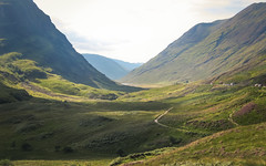The Glen Coe Valley (RIch-ART In PIXELS) Tags: glencoe valley landscape scotland unitedkingdom field grassland grass heathland heather thehighlands mountains slopes mountainside canon path road