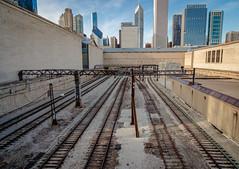 (Matt In Color) Tags: urban chicago tracks train outside summer cta metra l blue yellow city buildings
