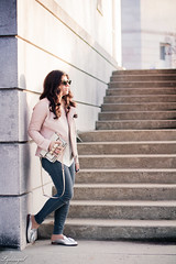 Pink leather jacket, white silk blouse, grey denim, silver mules-17.jpg (LyddieGal) Tags: athleta grayson lineapelle blush coloreddenim denim fashion gap grey jcrew leatherjacket loafers mules officestyle outfit rayban silkblouse silver spring style sunglasses tjmaxx vionic wardrobe weekendstyle white