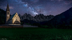 dolomites village  church in funes town (AlbertMu7) Tags: church milky way italy italia dolomite dolomites night naturaleza nature shot mountains mountain sky cielo paisaje paysage montaña campo hierba natur village long colours outside alberto muñoz albertmu 7 town colors