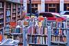 Books and Traffic (AntyDiluvian) Tags: boston massachusetts downtown weststreet books bookshop bookstore brattlebookshop brattle outdoor bookshelves bookshelf bookcart traffic pedestrian