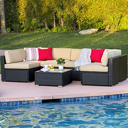 Cheap Best ChoiceProducts 7 Piece Outdoor Patio Garden Furniture Wicker Rattan Sofa Set Sectional, Black