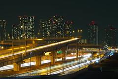 Tokyo Night - Wangan Expressway in Shinonome (fukasawa.takahiro) Tags: skyline freeway expressway night nightview tokyo japan lighttrace lightstream