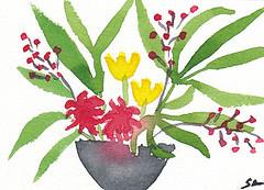 "ACEO 54 ""Ikebana Inspired 1"" (Sonia Aguiar (Mallorca)) Tags: acuarela watercolor watercolour ikebana bouquet palma de mallorca soniaaguiar aquarell aquarelle floralart aceo smallart"