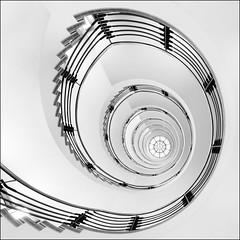 spiral (ingrid.lowis) Tags: stairwell stairs architecture treppenhäuser bw monochrom officebuilding kontorhaus