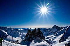 Where the mountains meet the sky. (Neil. Moralee) Tags: austria2018neilmoralee neilmoralee mountain sky snow glacier austria hintertux tyrol sun flare lens star burst blue ski landscape winter cold altitude frost freeze