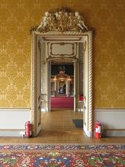 Wrest Park - enfilade with fire extinguishers (Dubris) Tags: england bedfordshire wrestpark silsoe englishheritage mansion diningroom gold doorway enfilade fireextinguisher