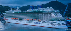 2017 - Regent Cruise - St. Lucia - P&O Britannia (Ted's photos - For Me & You) Tags: 2017 cropped nikon nikond750 nikonfx regentcruise stlucia tedmcgrath tedsphotos vignetting po pobritannia pocruises castries portofcastries castriesstlucia ship boat water crane port lifeboats red redrule