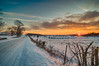Snowy Sunset #4 (tquist24) Tags: hdr indiana lagrangecounty nikon nikond5300 outdoor barbedwire barbedwirefence clouds cold evening farm fence geotagged road rural sky snow sunburst sunset tree trees winter shipshewana unitedstates
