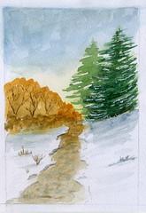paysage de neige 2 (ybipbip) Tags: aquarelle aquarell akvarell watercolor watercolour paint painting pintura paysage landscape