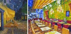 The Cafe Terrace on the Place du Forum, Arles, at Night by Van Gogh 1888 and Under Canopy by Anthony D. Padgett 2017 (anthonydavidpadgett) Tags: vincentvangogh vangogh vincent lovingvincent arles amsterdam auverssuroise saintremy chair sunflowers bedroom blossom absinthe millet pipe wheatfields crow lemoulindelagalette nightcafe placelamartine saintesmaries starrynight langloisbridge cafeterace placeduforum lesalyscamps peretanguy stilllife yellowstrawhat vincentshouse bedroomwindow saintpaul asylum corridoor saintpaulhospital saintpauldemausole olivepicking larlesienne madameginoux yellowhouse potatoeaters cypress postman josephroulin nuenen strawhat antwerp borinage hague fishingboats blueenamel coffeepot earthenware fruit almond anthonydavidpadgett anthonypadgett southport southribble sollom tarleton lytham preston hutton longton rufford