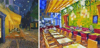 The Cafe Terrace on the Place du Forum, Arles, at Night by Van Gogh 1888 and Under Canopy by Anthony D. Padgett 2017