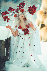"TEATRONATURA ""The Spirit of winter"" (valeriafoglia) Tags: spirit snow wood white winter wild forest creature dress red flowers atmosphere art fantasy fairy photo photography pretty beautiful beauty creative colors composition capture"