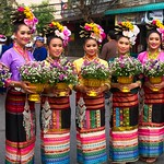 Thai People in Traditional Dress Waiting to Join the Chiang Mai Flower Festival Parade 181 thumbnail