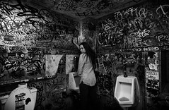 You Pee like a girl (dontaeh@rocketmail.com) Tags: nikon nikond7100 houston gender gritty dope restroom urinal woman girl power stereotype blackandwhite grafitti strong