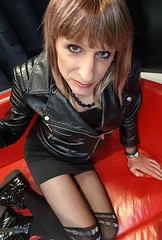 Black leather and a touch of Sparkle (Sometimes Emma) Tags: tgirl transvestite tranny crossdresser wig jacket leather shortskirt tights boots fem fun happy