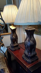 "PAIR ASIAN CERAMIC BOUDOIR LAMPS, WORKING WELL.  $185. • <a style=""font-size:0.8em;"" href=""http://www.flickr.com/photos/51721355@N02/39613617912/"" target=""_blank"">View on Flickr</a>"