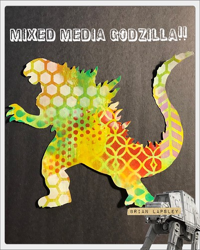 Rawrrrrr #mixedmedia #Cricut #painting #godzilla 🔥