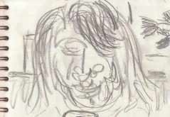 Ganz vertieft war sie, so dass nichts auf der Welt sie hätte zurück holen mögen (raumoberbayern) Tags: zeichnung drawing sketch sketchbook skizzenblock dina5 wohnzimmer livingroom robbbilder graphite grafit stillife stillleben naturemorte fernsehen tv