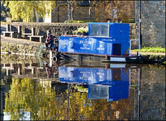 Blue boat. (Country Girl 76) Tags: reflections blue boat fisherman canal leeds liverpool water yorkshire trees walls seats ice cream tug