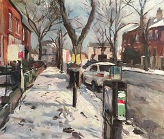 Wentworth street snow Wakefield. (Captain Wakefield) Tags: trees buildings burton samuel winter street wentworth yorkshire west wakefield snow art painting cityscape contemporary impressionist