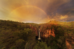 Tolmer Falls (Louise Denton) Tags: sunset waterfall tolmer falls water flow cliff escarpment rocks red outback nt northernterritory australia litchfield tabletop rainbow weather wet rain