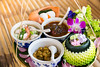 Beautiful Set of Thai Food. (baddoguy) Tags: art backgrounds bamboo material banana leaf boiled egg bowl brown background chef chili choice color image colored condiment cookie cultures curry soup decorating decoration dessert elegance flower food drink gourmet green group of objects horizontal majestic multi no people orchid petal photography pink porcelain readytoeat restaurant spoon summer thai culture thailand vegetable violet