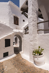 Binibeca, Menorca, Spain (Wayne Huzzey) Tags: 2015 afternoon alley alleyway antoniosintes apartment arch arches architect architecture archway balearicislands balearics binibeca binibecavell binibèquer binibèquervell ceramic cobbled cobbles españa español europe holiday illesbalears island islasbaleares july landscape lane maze mediterranean menorca minorca moorish moors narrow nikon nikonafsnikkor1635mmf4gedvr nikond800 numbers path picturesque plant planter pot quaint quiet resort sanluis santlluís shutters spain spanish stairs steps street summer sunny terracotta tiles traditional travel urn vacation villa village white whitewashed winding window wood wooden sky