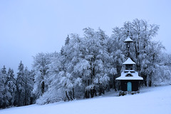a winter day (Alena Adamcová) Tags: winter landscape chapel blue icing tree nikon d3300 czech nature day countryside mountains czphoto