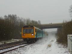 142082 (Jacquack) Tags: class 142 142082 arriva trains wales morganstown crossing cardiff caerdydd cymru snow snowy weather st david day