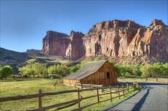 Pioneer Barn (Runemaker) Tags: barn gifford pioneer fruita ranch west western farm fence road cliffs sky hdr capitolreef nationalpark utah