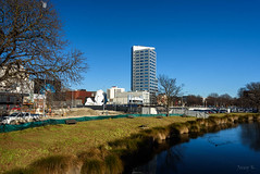 On a Clear Winters Day (Jocey K) Tags: newzealand nikond750 southisland christchurch cars river water reflections avon avonriver trees sky shadows architecture buildings cbd