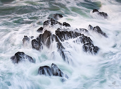 Be Brave! (MANUELup) Tags: cantabria covachos cliff coastline seascape surf wave rocky headland rockstrata extremeterrain water rocks sea seashore waterscape longexposure brave hard strong colourful green blue white black square coast coastal spain
