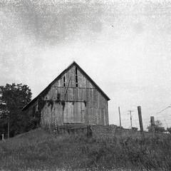 Barnland (.grux.) Tags: luxettes film 127format rerapan100 127 4x4 expiredfilm barn farmland country fence testroll ontario