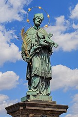 Statue of John of Nepomuk on Charles Bridge in Prague (Czech Republic) (K. Horn) Tags: wikicommons placeswevebeen wc czechoslovakia czechrepublic statue opph cc