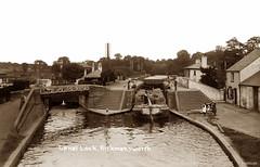 Canal Lock, Rickmansworth (footstepsphotos) Tags: canal lock rickmansworth waterway inland narrowboat barge steps footbridge people water boat old vintage postcard past historic