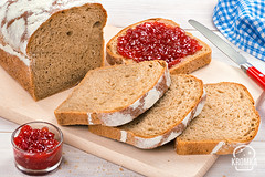 Breakfast with fresh bread and strawberry jam (Food photography / Food styling) Tags: jam bread breakfast fresh morning strawberry tasy