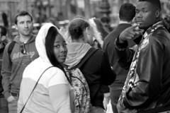 Spotted Again (TheseusPhoto) Tags: monochrome blancoynegro blackandwhite noir streetphotography street streetportrait city citylife sanfrancisco sanfran california marketstreet people candid