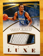 2014-15 Panini Luxe Andrew Wiggins Rookie Jumbo Patch Card #'d 08/25 (CardKing739) Tags: nba luxe andrewwiggins karlanthonytowns jimmybutler minnesotatimberwolves wolves powerofthepack hoops basketball jumbo jersey rookie card nike adidas underarmour pinterest instagram facebook tumblr sports sportscards tradingcards cardhobby blue black white silver photo picoftheday picture art whodoyoucollect blowoutcards kansas jayhawks canada mapleleaf wethenorth