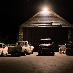 270 of Year 4 - Barn evening (Hi, I'm Tim Large) Tags: old barn garage light night dark car sun truck 4x4 drive driveway fujifilmfuji xf xpro2 35mm f14 365 270