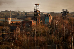 Chatterley headstocks (PentlandPirate of the North) Tags: brown chatterleywhitfield coal mine headstocks staffordshire industrial mining pit derelict