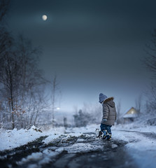 "below ""0"" (blue hour) (iwona_podlasinska) Tags: snow cold blue boy house road countryside moon sky winter freezing ice"