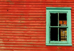 For Sale (Karen_Chappell) Tags: red green window shed paint painted sign wood wooden clapboard pettyharbour newfoundland nfld atlanticcanada avalonpeninsula eastcoast rural architecture geometry geometric