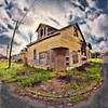 Broken Home (msuner48) Tags: d750 acr5 cs4 sky clouds house home grass trash telephonepole abandoned nikcollection topazlabs fisheye rokinon8mmf35