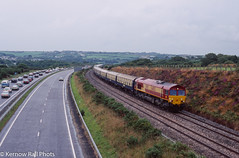 Eclipsed by the Rain (Kernow Rail Phots) Tags: kernow cornwall wedneaday 11th august 1999 total eclipse day railtours railtour railway train trains railways railroad locomotive ews class66 47799 prince henry 66002 scorrier traffic a30 1228 st blazey penzance ecs 5z91 canon eos100