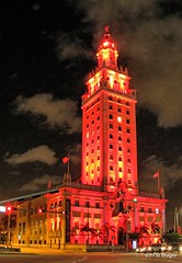 Freedom Tower (pandt) Tags: building night red clouds sky dark light architecture freedomtower biscayneboulevard miami florida longexposure outdoor nightscape canon eos 7d slr