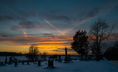 Snowy Sunset #8 (tquist24) Tags: cemetery indiana nikon nikond5300 clouds cold evening geotagged graveyard sky snow sunset tombstone tree trees winter middlebury unitedstates