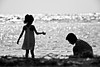 Summer Memories With Her Father (leopc.lin) Tags: tamron kenko naf 2x teleplus pro 300 sp 70300mm f456 di vc usd nikon df beach sea sunset light kid father day bw