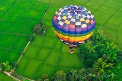 Bird's eye view (Emu Alim) Tags: chiangmai aerial green colour balloon paddyfield thailand sony a9